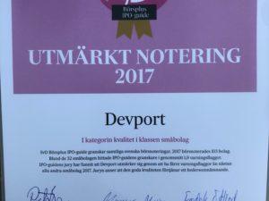 """DevPort Kom Trea I Klassen """"Kvalité"""" Bland Småbolag Som Börsnoterades 2017"""